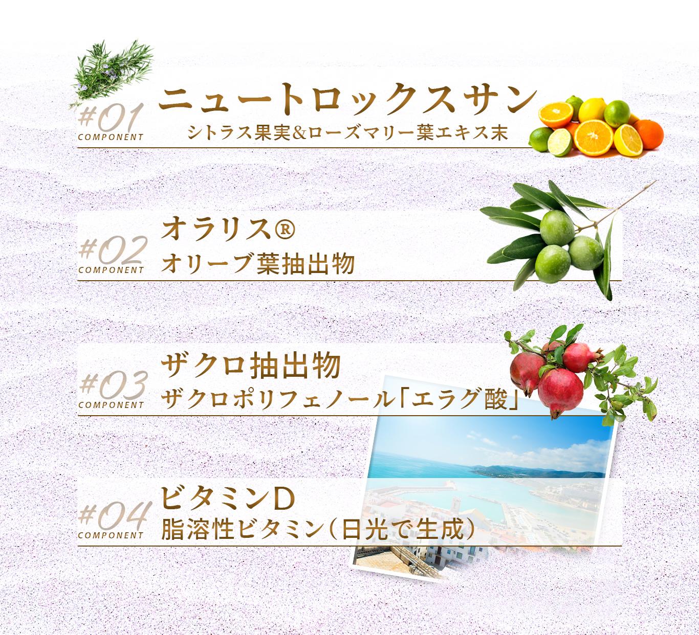 ニュートロックスサン(シトラス果実&ローズマリー葉エキス末)、オラリス(オリーブ葉抽出物)、ザクロ抽出物(ザクロポリフェノールエラグ酸)、ビタミンD(脂溶性ビタミン)